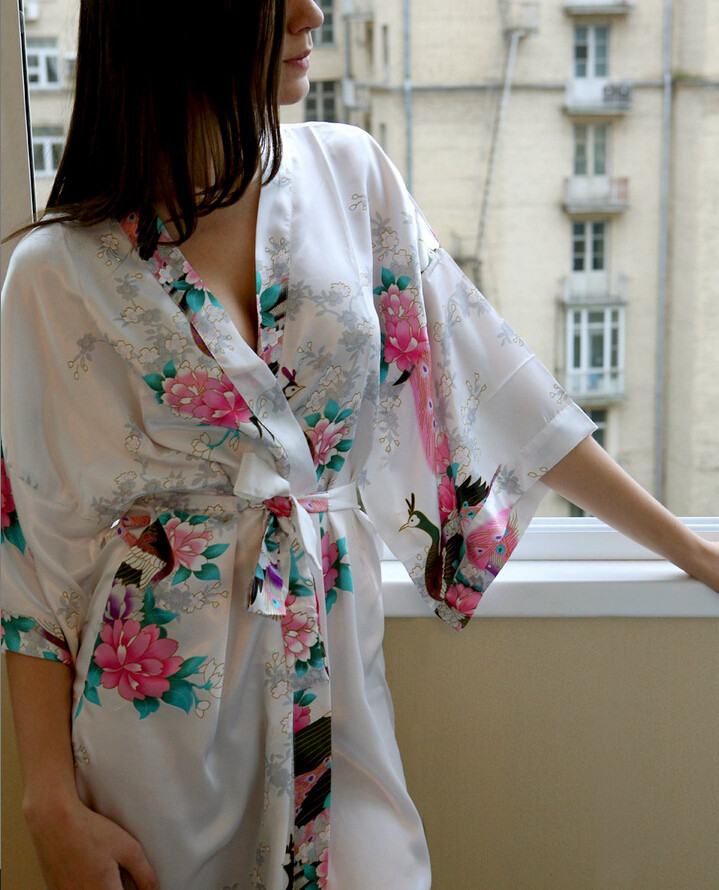 High Quality Robe Kimono Faux Silk Long Silk Robe White Chinese Silk ...