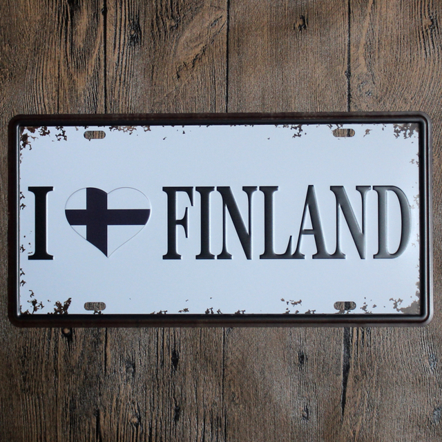 Vintage Car Plate  i Love Finland  Wall Art Craft Vintage Iron Metal Painting for & Vintage Car Plate