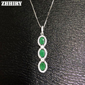 Подлинная Изумрудный Gem Подвески Природный Камень Стерлингового Серебра 925 Женщины Изысканные Ювелирные Ожерелья