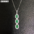 Genuine Emerald Gem Pendants Natural Stone 925 Sterling Silver Women Fine Jewelry Necklace