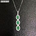 Genuine Emerald Gem Pingentes Pedra Natural de Prata Esterlina 925 Mulheres Colar de Jóias Finas