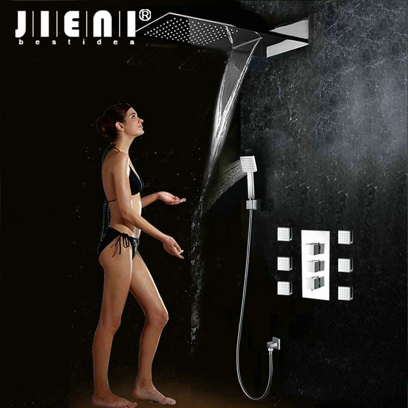 цена Luxury Rain Waterfall Shower With Two Function Shower Mixer Bathroom Concealed Shower Sets Bath Bathroom Shower Hand