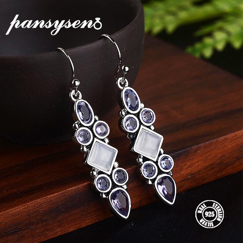 PANSYSEN Ethnic Indian Jewelry Earrings For Women Luxury Created Moonstone Amethyst 925 Silver Jewelry Drop Earrings Hot Gifts