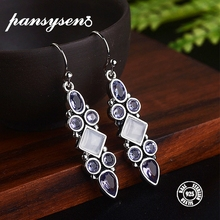 PANSYSEN Ethnic Indian Jewelry Earrings For Women Luxury Created Moonstone Amethyst 925 Silver Drop Hot Gifts