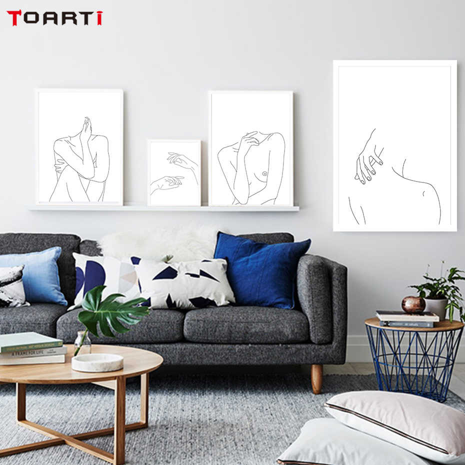 Nordic Posters&Prints Modular Minimalist Line Drawing Wall Pictures Sexy Woman Body Nude Art Paintings Bedroom Home Decor Mural