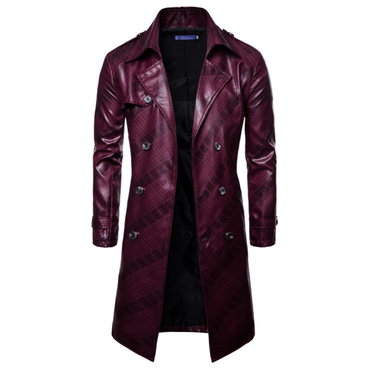 Europe/US Size New Design Game Leather Jacket Men Casual Double Breasted Long Windbreaker Leather Jacket Motorcycle Jacket Male