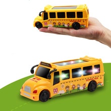 Mini Model Kids Flashing Lights Music School Bus Baby Electric Car Toys for Children Diecasts Vehicles Toy Funny Games Cute Gift(China)