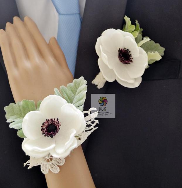 Handmade Wedding Corsage Flower Groom Boutonniere Bride Bridesmaid Hand Wrist  Flower Artificial Anemone Flowers Wedding Supplies a888b35af557