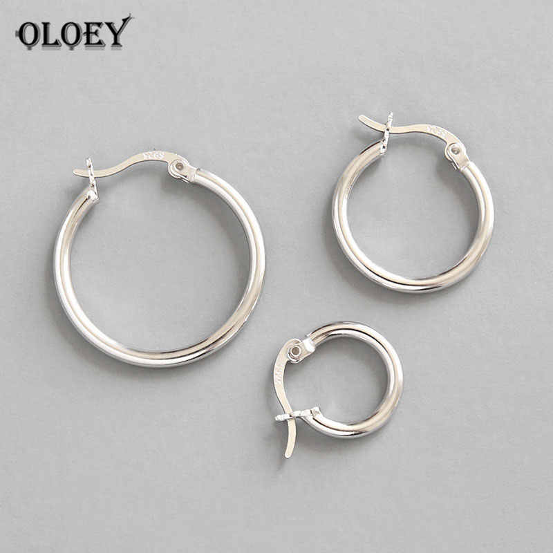 fd6486e76 OLOEY 100% Real 925 Sterling Silver Hoop Earrings for Womens Trendy Design  Small Huggie Geometry