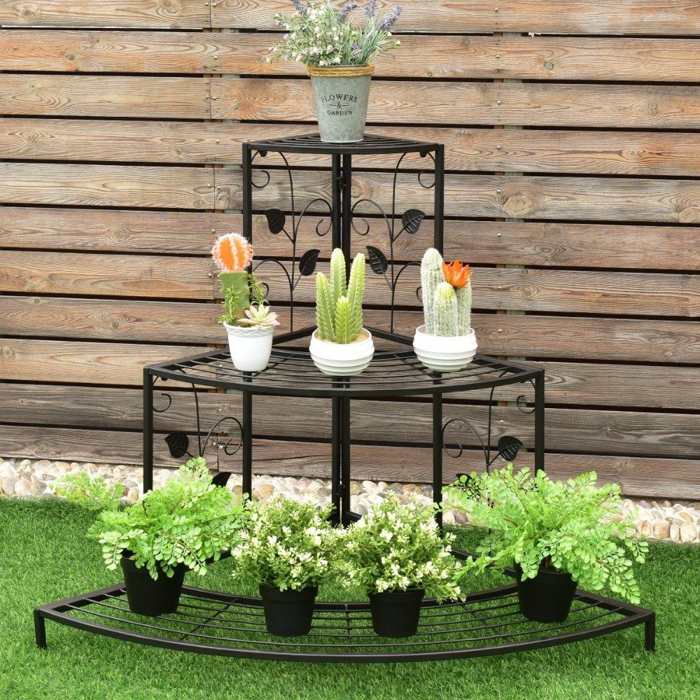 Giantex 3 Tier Floral Corner Plant Stand Metal Flower Pot Rack Stair Display Ladder  Outdoor Furniture GT3201