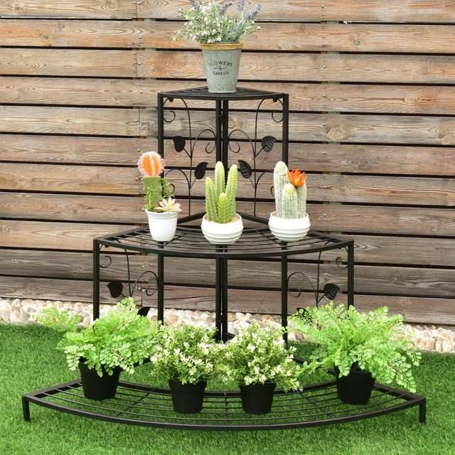 Us 59 99 Giantex 3 Tier Floral Corner Plant Stand Metal Flower Pot Rack Stair Display Ladder Outdoor Furniture Gt3201 On Aliexpress
