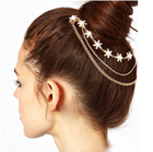 SHUANGR Gold Color Crystal Simulated Pearl Flower Charms Hair Brooch Clip Pin Cuff Chain Head Band Hair Jewelry for Women Girls