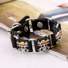 One Piece Punk Pirate Skeleton Leather Bracelet