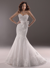 fashionable romantic sexy lace bow appliques sweetheart vestido de novia mermaid 2018 bridal gown mother of the bride dresses