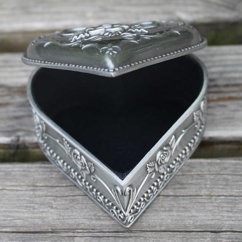 Retro estanho banhado a forma do coração flor gravado caixa de jóia do metal, caixa de presente trinket liga de zinco