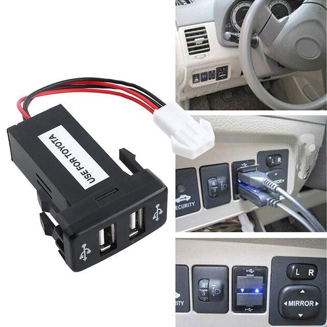 Автомобиль Зарядное устройство Dual USB Зарядное устройство 5 V 2.1a 2 Порты и разъёмы Мощность адаптер гнездо Dual USB Порты и разъёмы для Toyota DXY88