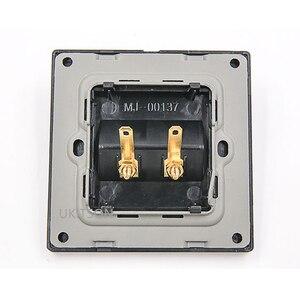 Image 2 - Czarny kolor 2 porty złącze głośnika panel ścienny metalowa rama Audio dźwięk wtyczka płyta czołowa 86x86mm