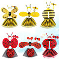 Bee Wings Antenna Headband Flower Wand Skirt Costume Set Performance Props Fairy Child Gifts Party Decoration