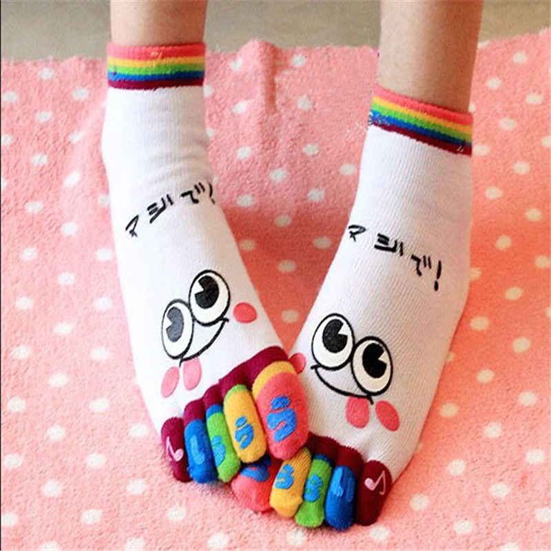 New Fashion Lady Women Girls Smile Five Fingers Trainer Toe Ankle causal Socks, Hot Sale Women Winter Socks