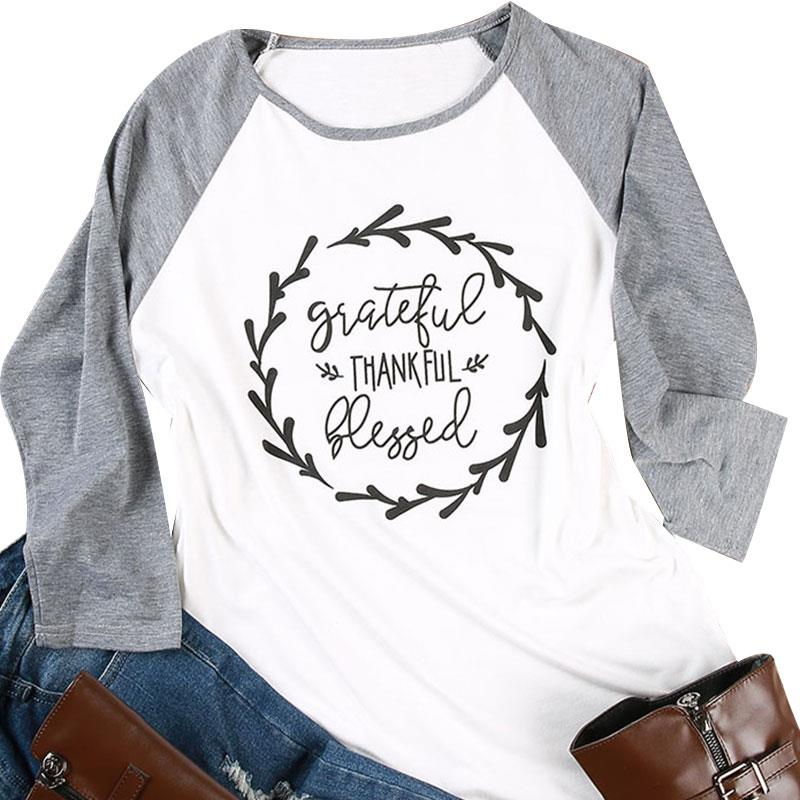 Autumn Women T-Shirt  Tops Grateful Thankful Letters Print O-neck Three Quarter Baseball Fashion Casual Basic Tops Tees Harajuku
