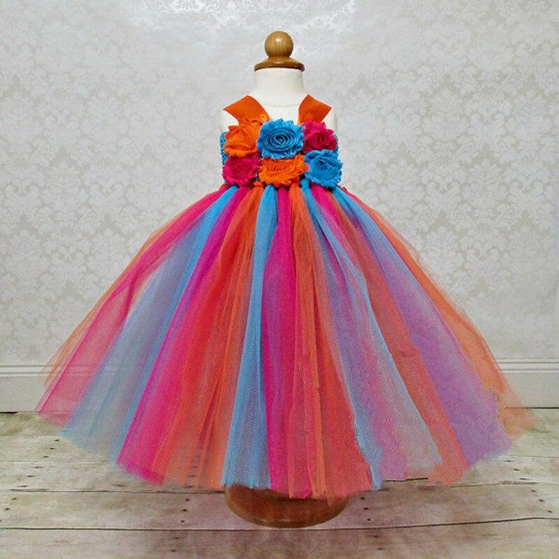 Fleur Filles Tutu Princesse Robe Cheville Longueur Coloré Boutique Moelleux Filles Robe De Bal Parti De Bal Robes 2-10Y - 5
