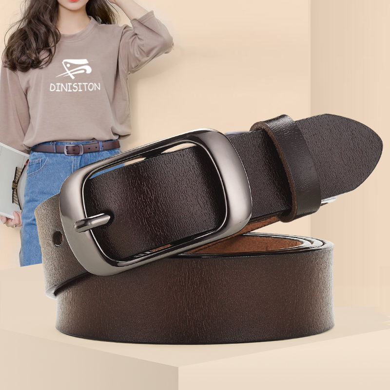 DINISITON New Women Genuine Leather Belt For Female Strap Casual All match Ladies Adjustable Belts Designer High Quality Brand