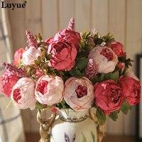 Luyue 13 филиал/Букет Искусственные цветы Пион яркие Флорес искусственный шелк роза Свадебный декор венок железа дома