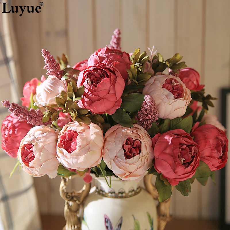 Luyue 13 Tak / Boeket Kunstbloemen Peony Vivid flores artificiales Fake Silk Rose Bridal Wedding decor krans klier home