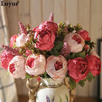 Luyue 13 Branch/Bouquet Artificial flowers Peony Vivid flores artificiales Fake Silk Rose Bridal Wedding decor wreath gland home