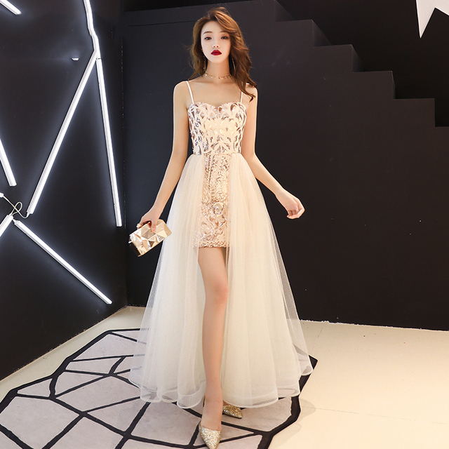 4692cd9c84b73 US $65.96 15% OFF|Short Front Long Back Evening Dress 2019 New Fashion  Sequins Special Occasion Dress Spaghetti Strap Prom Dress robe de soiree-in  ...