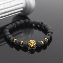 Wholesale Antique Gold Color Lion Head Charm Black Lava and Matte Onyx Stone Bead Bracelet For Men Women Gift Pulseras Hombre
