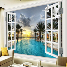 цена на custom mural Swimming pool coconut tree window painting photo 3d wall murals wallpaper 3D wall papers home decor papel de parede