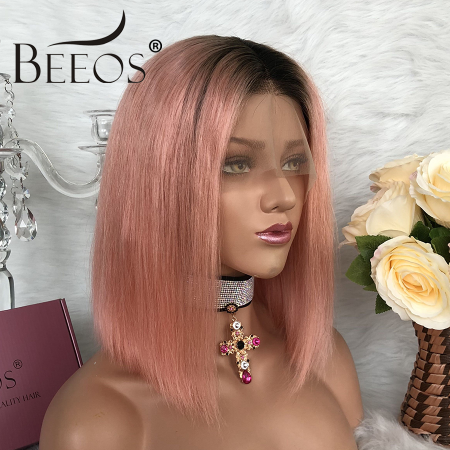 Dark Roots Pink Short Bob Lace Front Human Hair Wigs Middle part Pre Plucked Malaysia Remy Ombre Lace Wig with Baby Hair Beeos