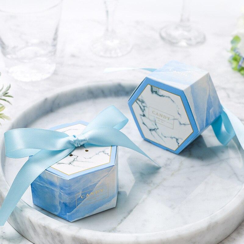 Chaud!!! 2019 Newst Arrive en marbre faveur de mariage et doux cadeau sacs boîte à bonbons pour événement de mariage Elmo fête fournitures 100 pièces - 4