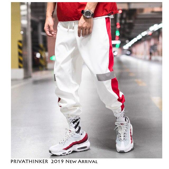 Privathinker US Size Side Stripe Track Jogger Pants Men 2019 Reflective Label Track Harem Pants Homme Streetwear Male HipHop Bullet Cheetah