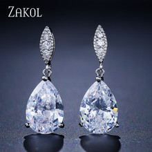 ZAKOL Nickle Free Fashion Water Drop Crystal Zirconia Earrings Bridal Wedding Jewelry for Women Wholesale FSEP2040