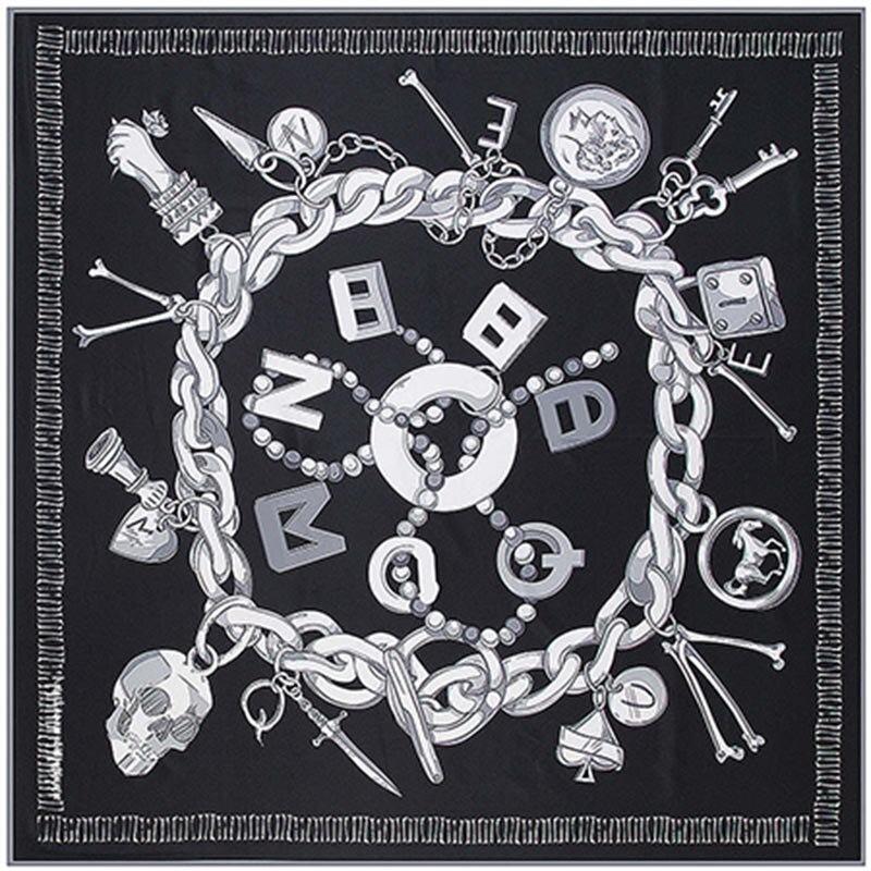 2018 Twill Silk Square   Scarf   Women Luxury Spain Chain Skull Print   Scarves  &  Wraps   Brand Hijab Foulard Bandana Big Neckerchief