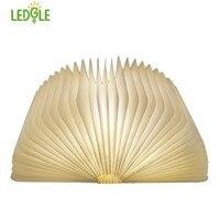 LEDGLE Foldable LED Book Light Rechargeable LED Night Light Creative Wooden Lamp For Decor Book Shape