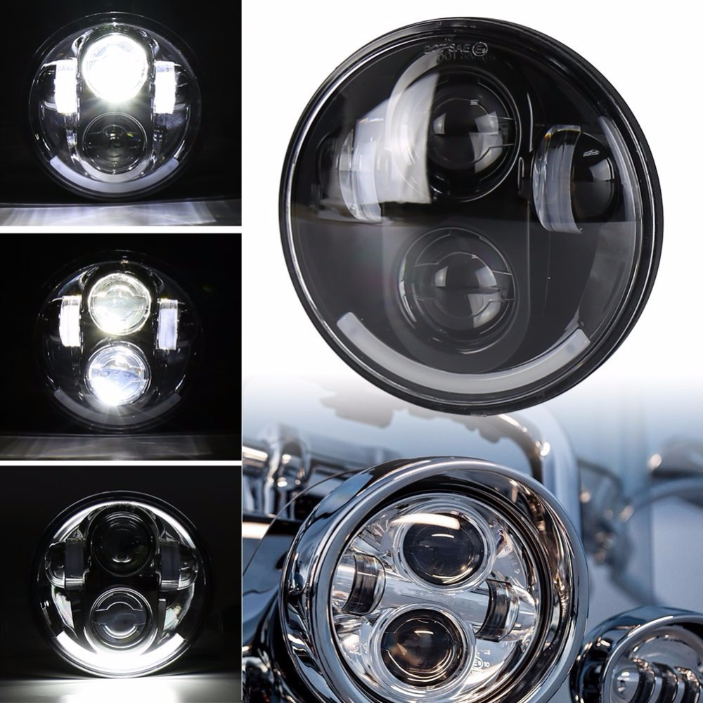 DOT 5 3/4 inch Harley LED Headlight 12V Sporter Motorcycle Projector Off Road Headlamp with Smile DRL Black