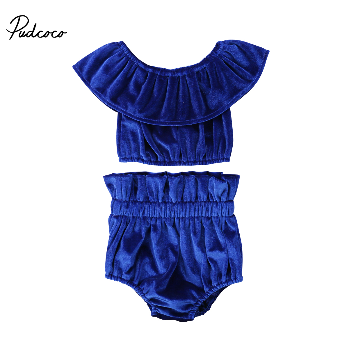 Adorable 2018 Newborn Kids Baby Girls Off Shoulder Ruffle Short Sleeve Cute Set Tops Shorts 2Pcs Outfits Clothes