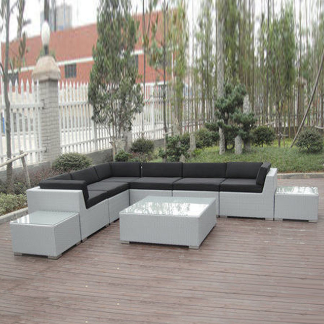 9 Pcs Teras Outdoor Sofa Rotan Tahan Sinar Uv Kontemporer Sofa
