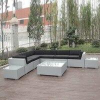 9 pcs Terrasse Outdoor Rattan Sofa  UV Beständig Zeitgenössische Ecke Sofa|Garten-Sets|Möbel -