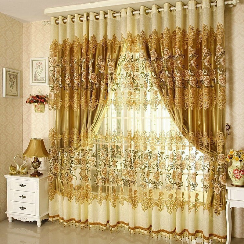 Ready Made Window Curtains Red/Golden Luxury Embroidered Voile Curtains European Sheer/Tulle Window Curtains for Living Room
