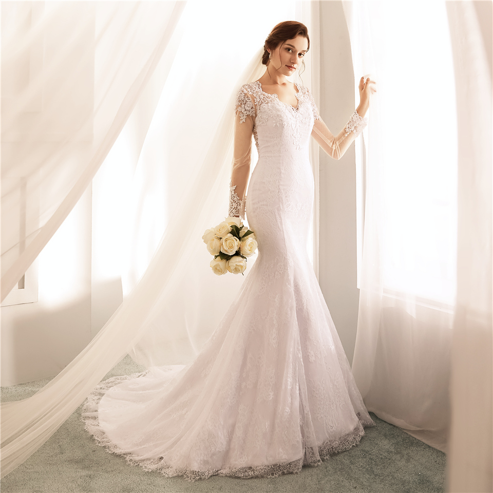 Mermaid Wedding Dresses With Sleeves: Ryanth Vestido De Noiva Illusion Back Mermaid Wedding