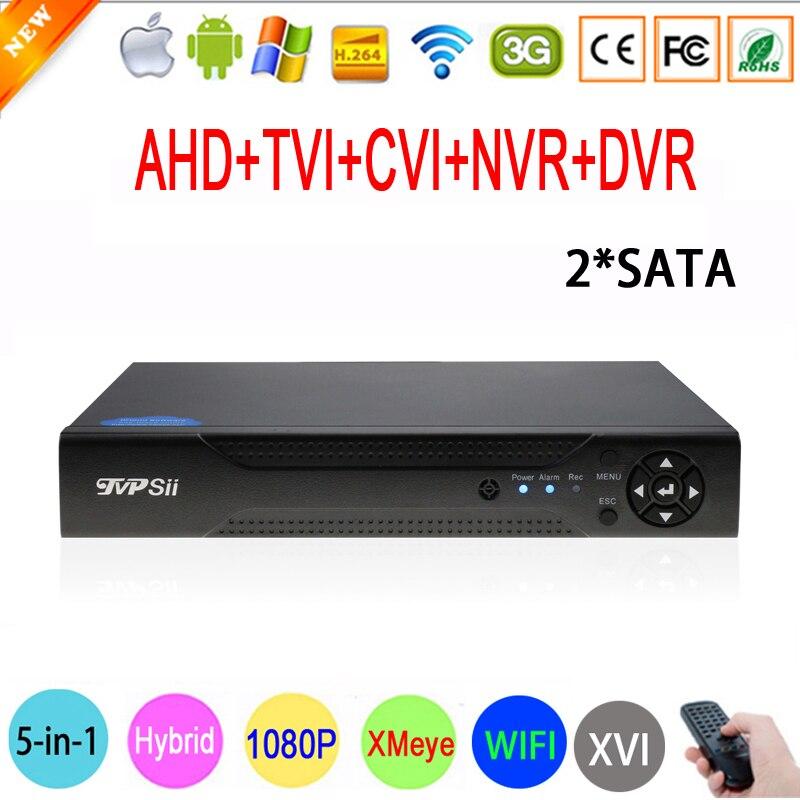 1080 p 2MP CCTV Caméra Hi3521A Xmeye 1080N 16 Canaux 16CH 2 * SATA Surveillance Wifi Hybride XVI TVi CVI NVR AHD DVR livraison gratuite