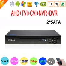 1080P 2MP CCTV Camera Hi3521A Xmeye 1080N 16 Channel 16CH 2*SATA Surveillance Wifi Hybrid XVI TVi CVI NVR AHD DVR Free shipping