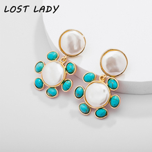 Lost Lady Vintage Gold Color Pendant Earrings Natural Green Stone Drop for Women Simulated-Pearl Jewelry
