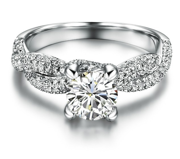 Twist Setting Paved Unique Designer 1Ct Synthetic Diamonds Engagement Ring For Women Wedding Sterling Silver Jewelry
