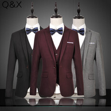MS59 2017 New Plus Dimension M-6XL One-Buckle Buttons Fits Jacket Males Go well with Set Males Wedding ceremony Fits Groom Tuxedos (Jacket+Pants+Vest)