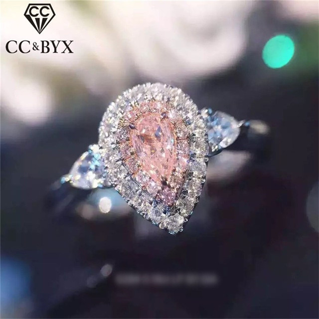 CC Jewelry 925 Silver Rings For Women Fashion Pink Water Drop Simple Jewelry Eng